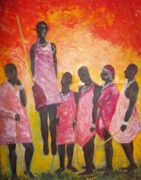 Masai Paintings - Masai Warriors by Roberto Rivera