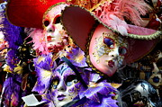 Venice Masks Prints - Maschere di Venezia-maschera di carnevale di Venezia Print by Martina Fagan