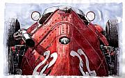 Watercolour Painting Prints - Maserati 250F Alien Print by Yuriy  Shevchuk