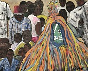 Tribal Painting Originals - Mask Ceremony Burkina Faso by Reb Frost