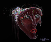 Digital Paiting  Posters - Mask Crystal Poster by Rana King