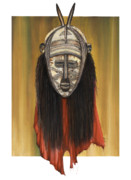African-american Mixed Media Prints - Mask I untitled Print by Anthony Burks