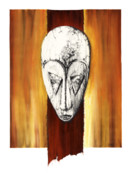 African-american Mixed Media Prints - Mask II untitled Print by Anthony Burks