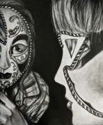 Intensity Drawings Posters - Mask in the Mirror  Poster by Sarah Ashbaugh