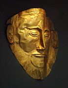 Museum Athens Posters - Mask of Agamemnon 2 Poster by Bob Christopher