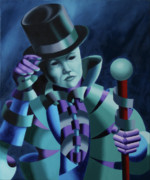 Staff Paintings - Mask of the Magician - Abstract Oil Painting by Mark Webster