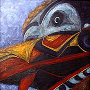 Ethnic Paintings - Mask Of The Raven by Elaine Booth-Kallweit