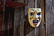 Rusty Door Framed Prints - Mask on barn door Framed Print by Garry Gay