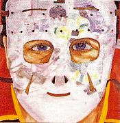 Hockey Painting Prints - Mask Refection Print by Yack Hockey Art
