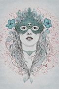 Woman Digital Art Posters - Masked Poster by Diego Fernandez