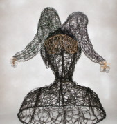 Wire Sculpture Sculptures - Masked Jester by Charlene White