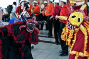Puerto Rico Photo Originals - Masked Spirit Dancers at San Juan Airport by Frank Feliciano