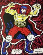 Molleur Framed Prints - Masked Wrestler Collaboration Framed Print by Suzanne  Marie Leclair