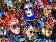 Venice Masks Prints - Masks of Venice Print by Graham Custance