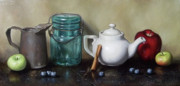 Hand Made Prints - Mason Jar and Teapot Print by Clinton Hobart