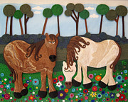 Greeting Cards Reliefs Originals - Masonville Duo  by Tammy Durham