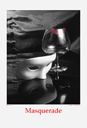 Stylized Food Posters - Masquerade-black and white Poster by Jerry Taliaferro