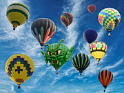 Ballooning Posters - Mass Hot Air Balloon Launch Poster by Paul Ward