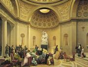Sculpture Painting Prints - Mass in the Expiatory Chapel Print by Lancelot Theodore Turpin de Crisse