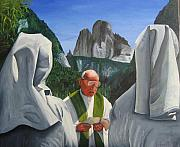 Nuns Painting Prints - Mass on the Dolomites Print by Alex Spinello