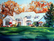 House Portrait Prints - Massachusetts Home Print by Hanne Lore Koehler