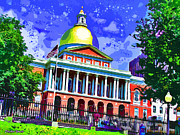 Boston Digital Art Metal Prints - Massachusetts State House Metal Print by Stephen Younts