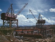 Large Scale Photo Prints - Massive Cranes On A Steel Print by Everett