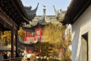 Shanghai China Tapestries Textiles Originals - Massive upturned eaves - Yuyuan Garden Shanghai China by Christine Till