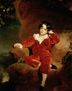 Black Velvet Framed Prints - Master Charles William Lambton Framed Print by Sir Thomas Lawrence