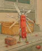 Food Drawings Posters - Master Pocketknife Poster by Kestutis Kasparavicius