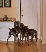 Weimaraners Framed Prints - Masters Home Framed Print by Barbara Walker