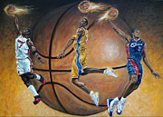 Lebron Painting Metal Prints - Masters of the Game Metal Print by Billy Leslie