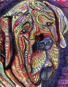 Outsider Artist Prints - Mastiff Print by Robert Wolverton Jr