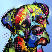 Cat Art Mixed Media Metal Prints - Mastiff Warrior Metal Print by Dean Russo