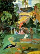 Peacocks Prints - Matamoe or Landscape with Peacocks Print by Paul Gauguin
