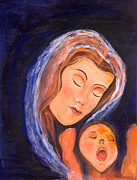Mother And Child Greeting Cards Posters - Maternal Love Poster by Stella Maris Jurado