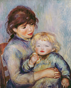 Sitting In Chair Posters - Maternity or Child with a biscuit Poster by Pierre Auguste Renoir