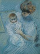 Pastel Portraits Framed Prints - Maternity Framed Print by Paul Cesar Helleu