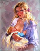 Boats In Water Paintings - Maternity by Rodriguez