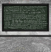 Solution Framed Prints - Maths Formula On Chalkboard Framed Print by Setsiri Silapasuwanchai