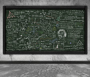 Line Drawing Art - Maths Formula On Chalkboard by Setsiri Silapasuwanchai