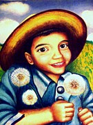 Blue Shirt Prints - Matias with dandelions Print by Monica  Vega