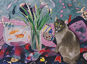 Flower Still Life Prints Framed Prints - Matisse Cat Framed Print by Eve Riser Roberts