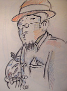 Impressionist Drawings Posters - Matisse en Route to His Studio with Goldfish Poster by Charlie Spear