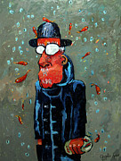 Juggling Painting Originals - Matisse Juggling Fish In The Rain In His Brain by Charlie Spear