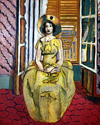 Girl In Dress Framed Prints - Matisse: Yellow Dress, 1929 Framed Print by Granger