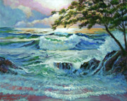 Oceans Paintings - Matsushima Coast by David Lloyd Glover