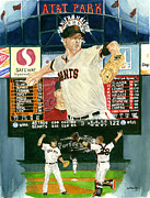 Baseball Game Painting Framed Prints - Matt Cain Perfect Night Framed Print by George  Brooks