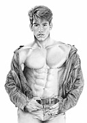 Homoerotic Drawings Metal Prints - Matt Gunther Metal Print by Steven Stines