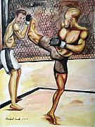 Matt Mixed Media Prints - Matt hughes vs.Georges St-Pierre Print by Michael Cook